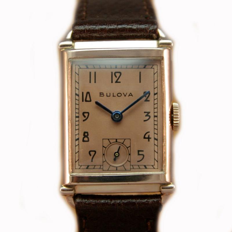 Art Deco Bulova WW2 14k Rose Gold 21 Jewels Gents Wrist Watch Newly Serviced