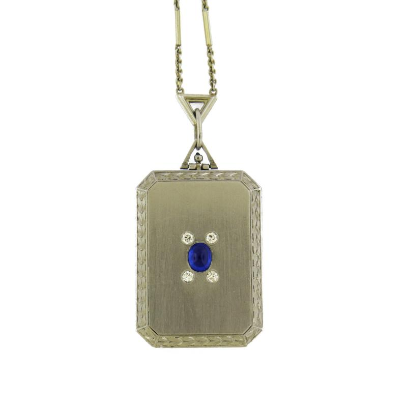 Art Deco Cabochon Sapphire Diamond Locket Pendant
