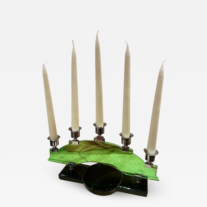 Art Deco Candleabra in Green Glass and Chrome