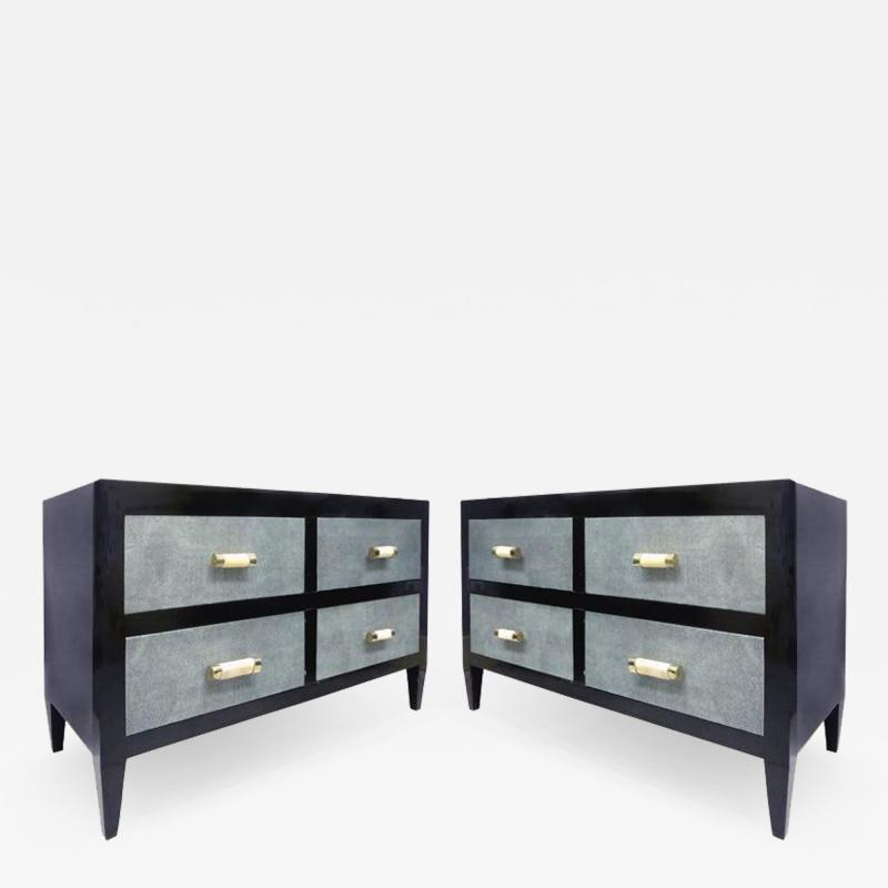 Art Deco Chests of Drawers with Shagreen Clad Drawers Bone Silver Handles