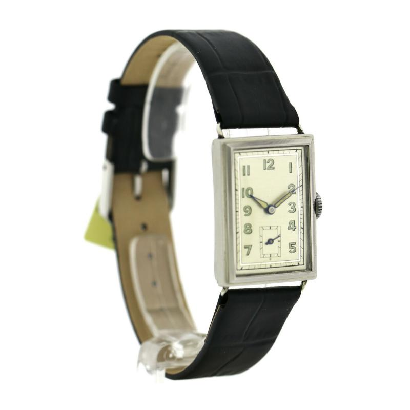 Art Deco Chrome Gents Wristwatch Old Stock Never Worn Newly Serviced 1930
