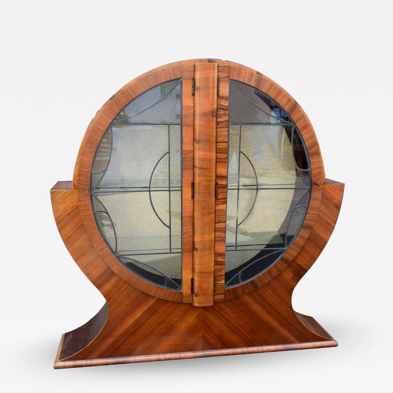 Art Deco Circular Display Vitrine Cabinet in Walnut 1930s