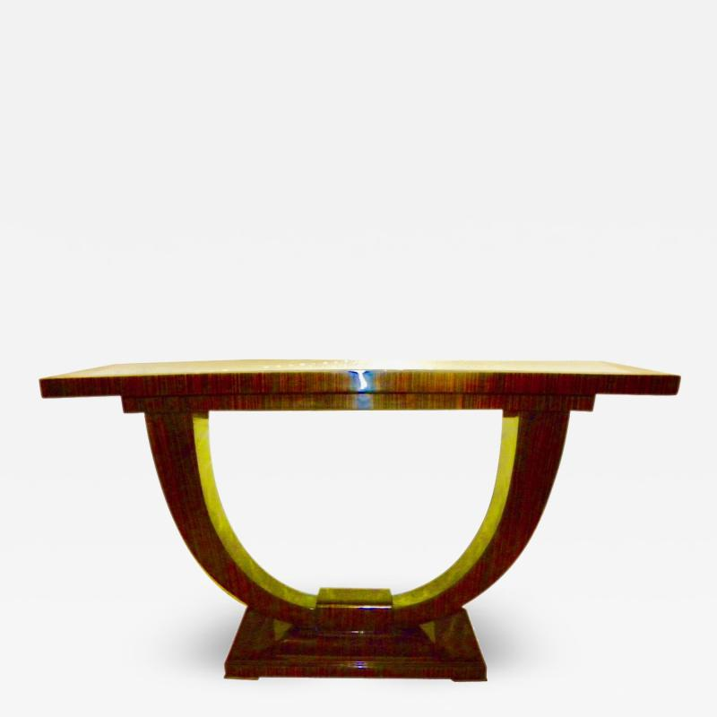 Art Deco Console U Shaped Base in Macassar wood in the style of Ruhlmann