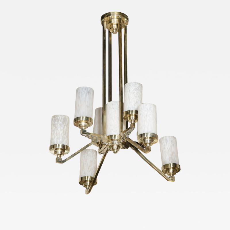 Art Deco Cubist Skyscraper Style Silvered Bronze Mottled Glass Chandelier