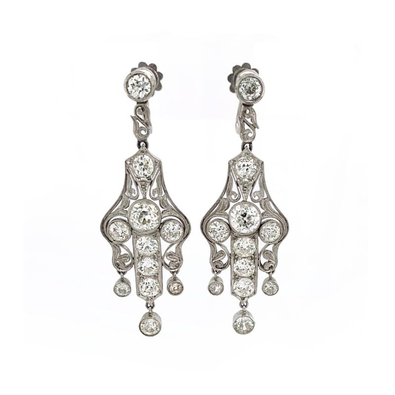 Art Deco Diamond Earrings approximately 6 carats total weight