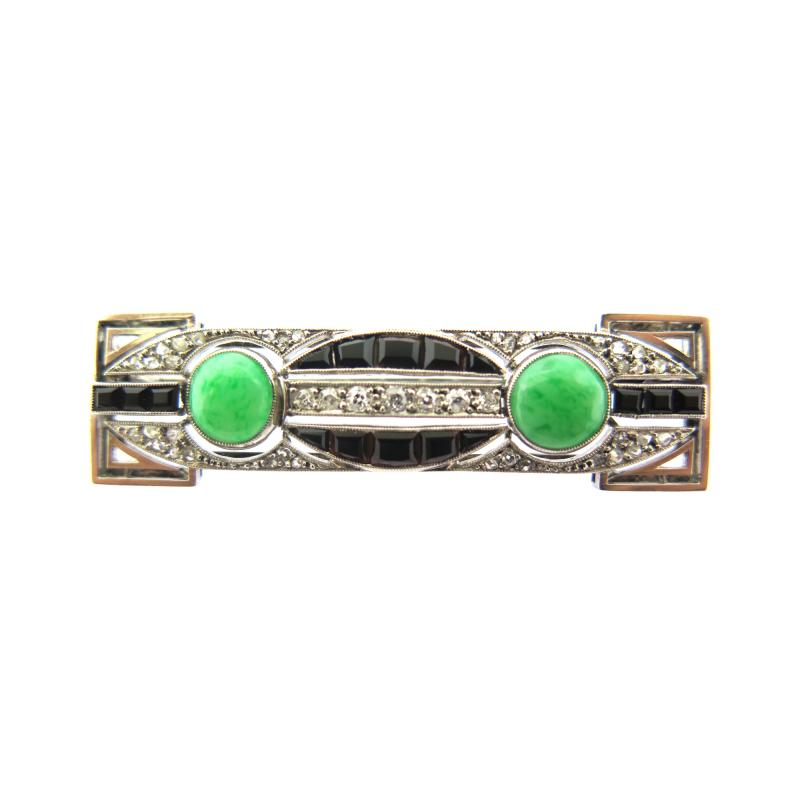 Art Deco Diamond Onyx and Jade Bar Brooch