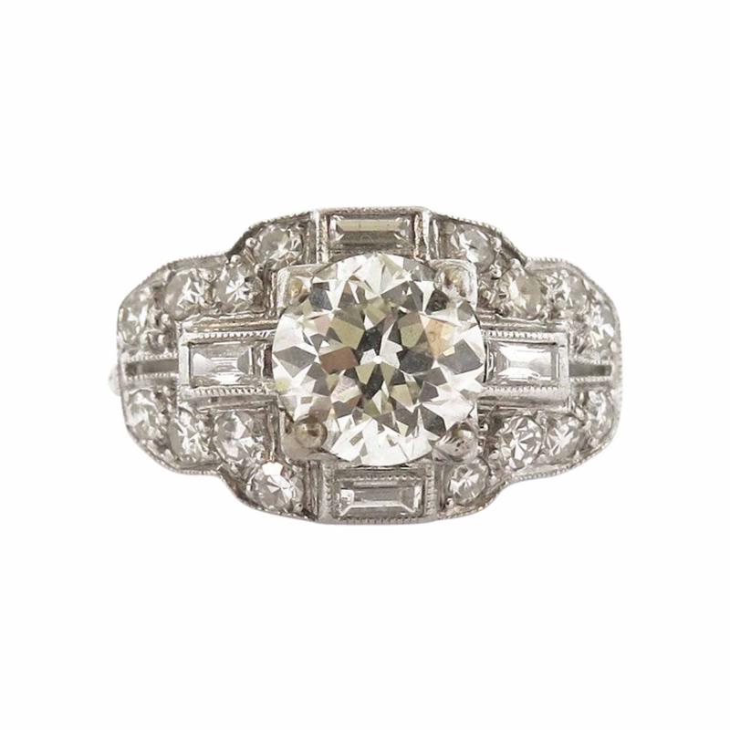 Art Deco Diamond and Baguette Accent Ring
