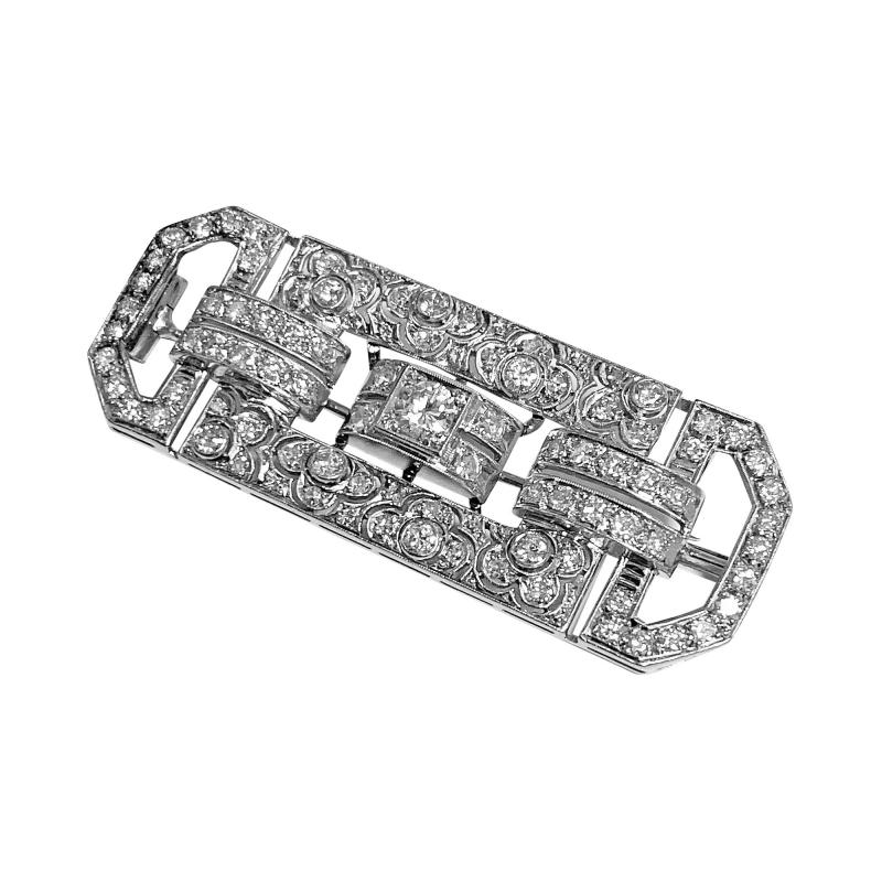 Art Deco Diamond and Platinum Brooch C 1925