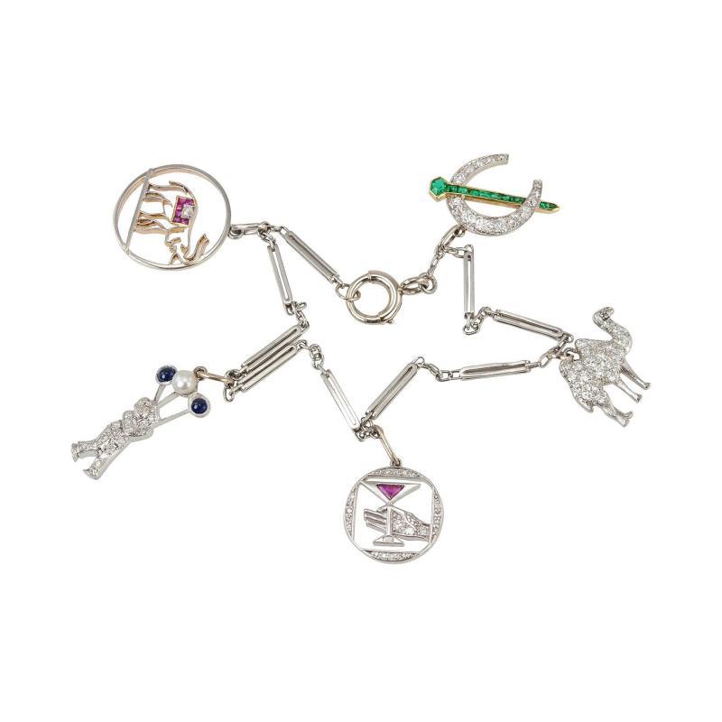 Art Deco Diamond and Platinum Charm Bracelet Circa 1930s