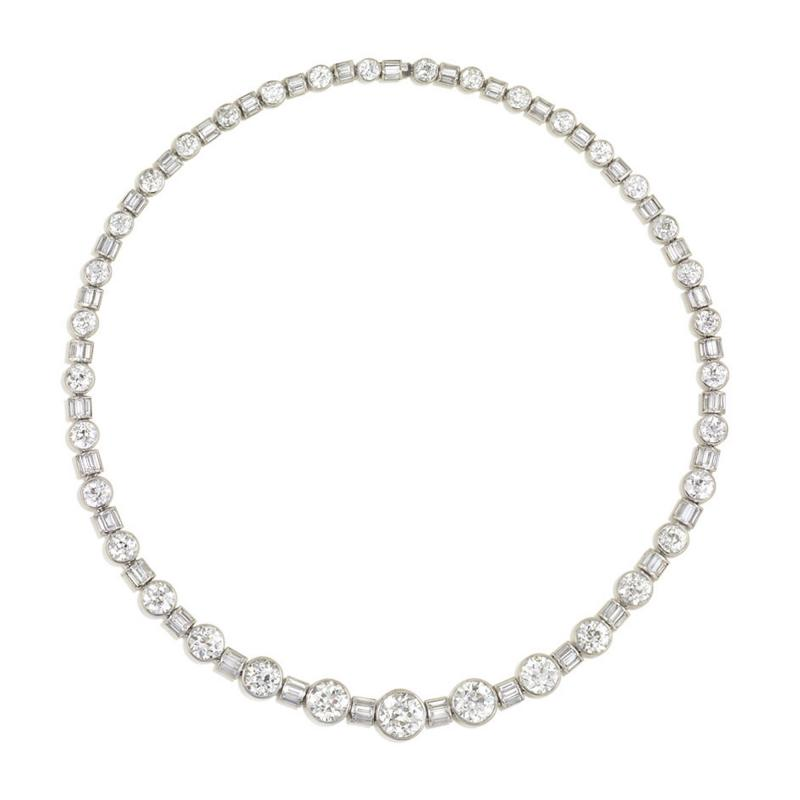 Art Deco Diamond and Platinum Necklace Converts to Varying Lengths and Bracelet