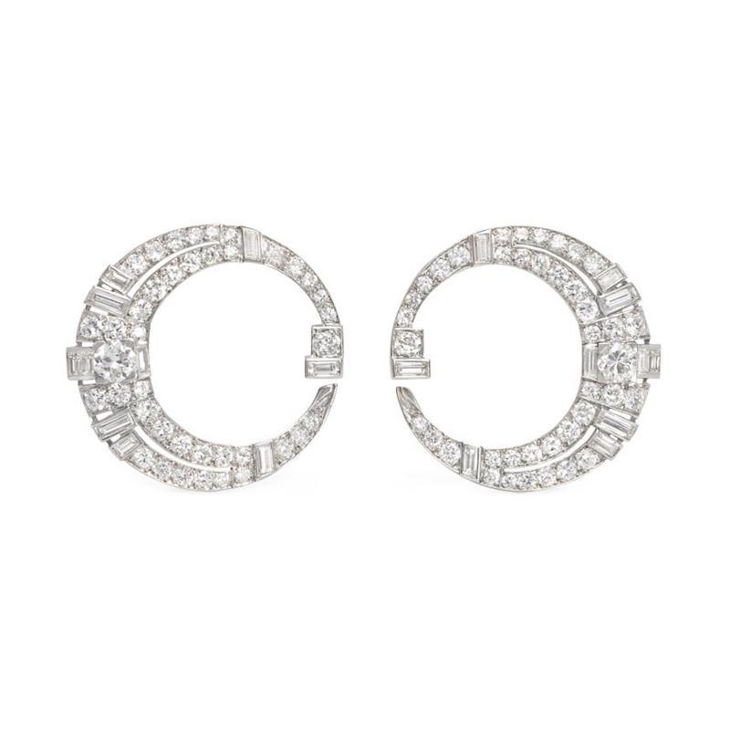 Art Deco Diamond and Platinum Tapered Hoop Earrings