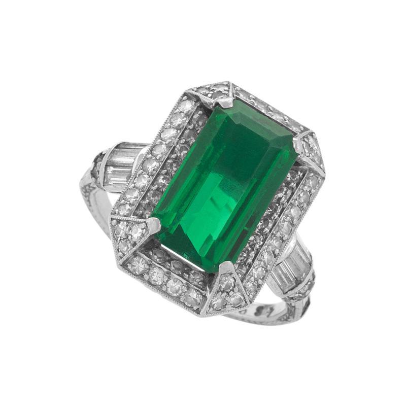 Art Deco Emerald Diamond and Platinum Ring