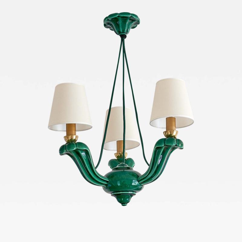 Art Deco Green Glazed Ceramic Three Light Chandelier France Late 1930s