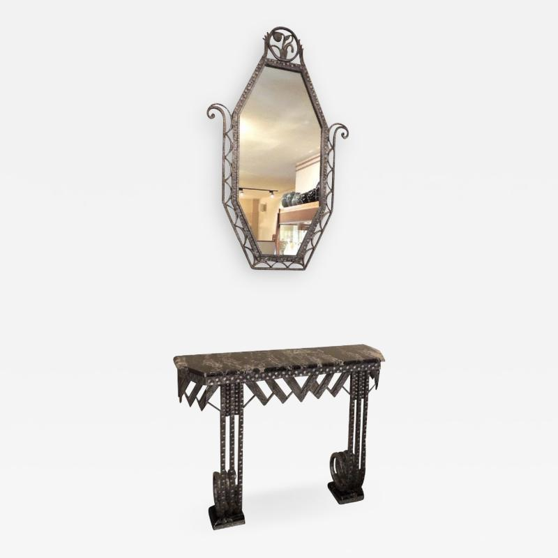 Art Deco Iron Marble Console With Matching Mirror