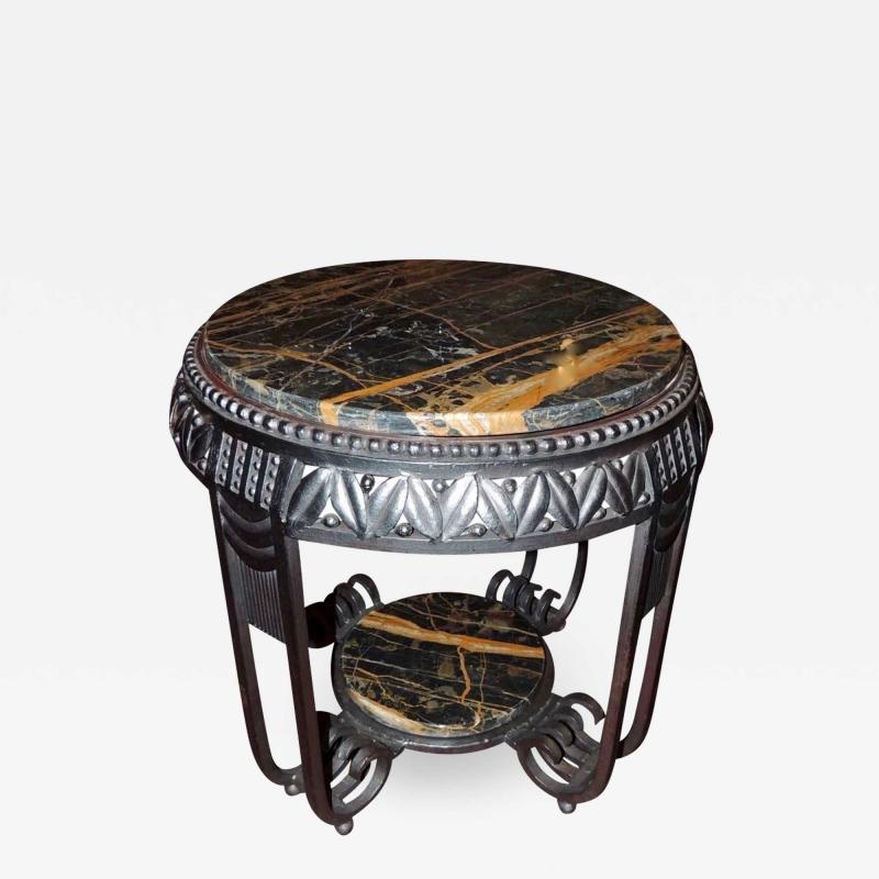 Art Deco Ironwork Side Table with Portoro Marble Top