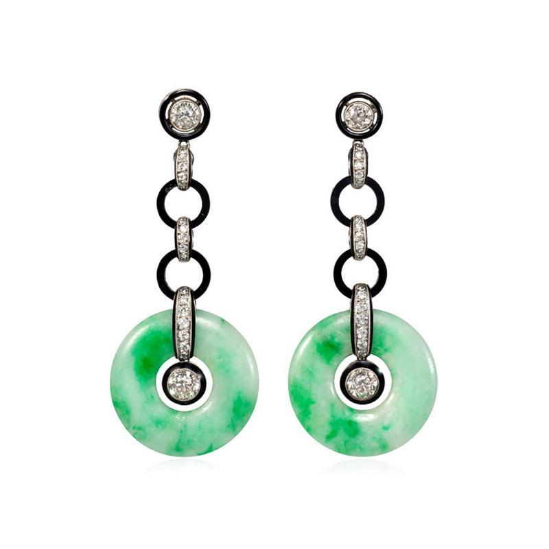 Art Deco Jade Disc Onyx and Diamond Earrings