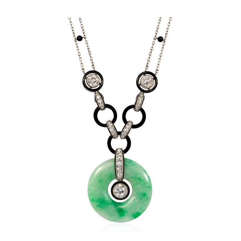 Art Deco Jade Disc Pendant Necklace with Diamonds and Onyx in Platinum
