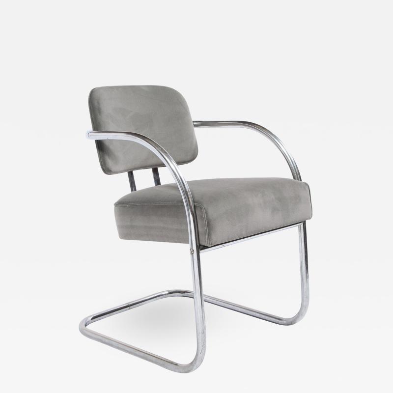 Art Deco Machine Age Bent Aluminum and Platinum Velvet Occasional Chair