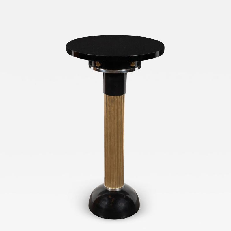 Art Deco Machine Age Black Lacquer Enamel Brass and Chrome Drinks Table