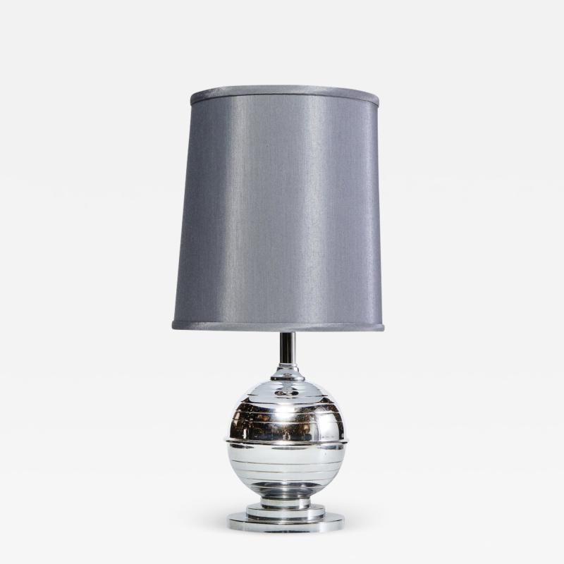 Art Deco Machine Age Skyscraper Style Striated Spherical Chrome Table Lamp
