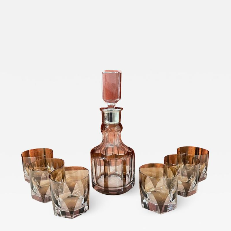 Art Deco Mid Century Whiskey Set with Decanter and Six Glasses