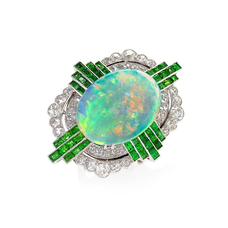 Art Deco Opal Ring with Diamond and Demantoid Garnet