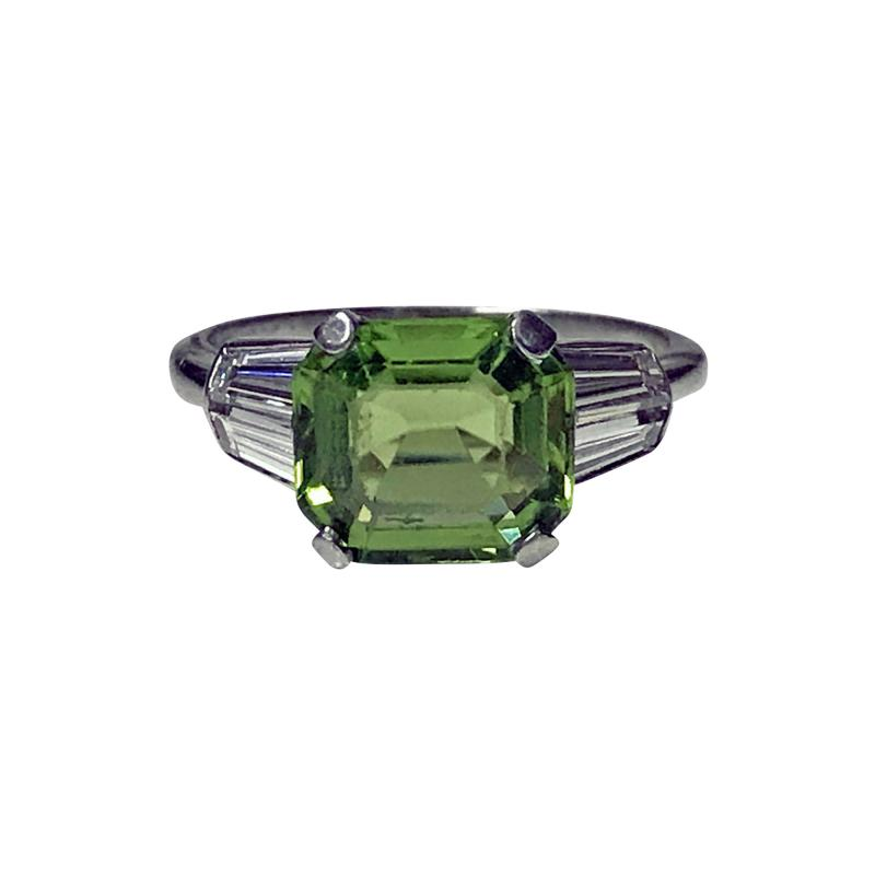 Art Deco Platinum Peridot Diamond Ring C 1920