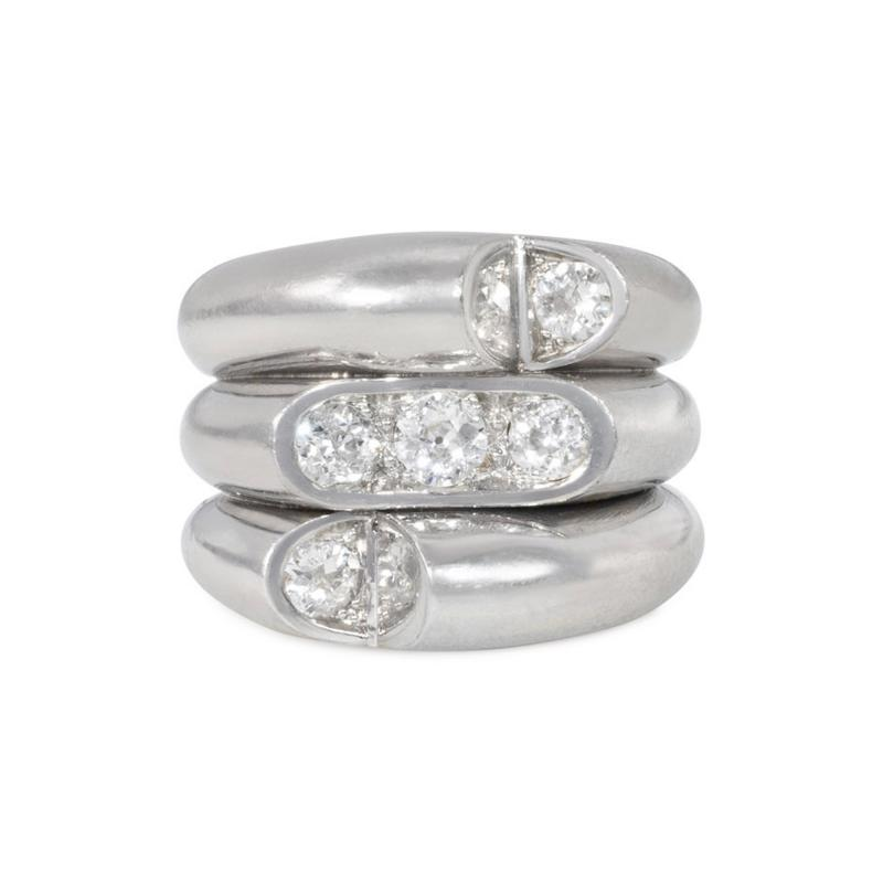 Art Deco Platinum and Diamond Stacked Triple Band Ring