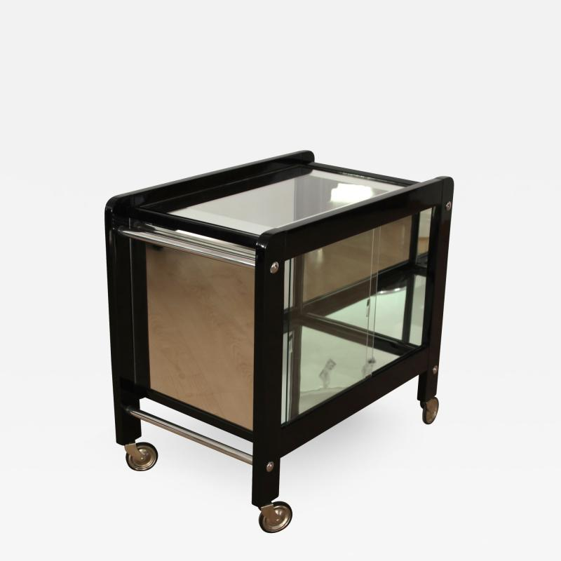 Art Deco Serving Table Black Lacquer and Glass France circa 1930