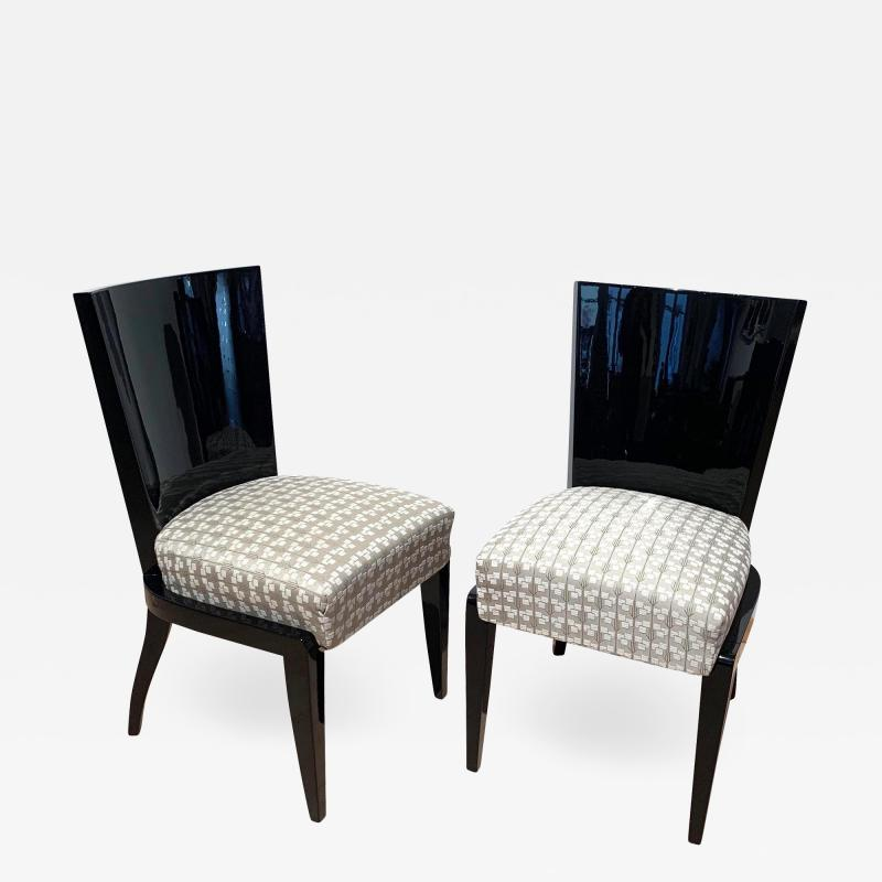 Art Deco Side or Dining Chairs Black Lacquer Grey Fabric France circa 1930