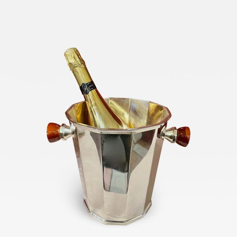Art Deco Silver Champagne Bucket with Bakelite Handles