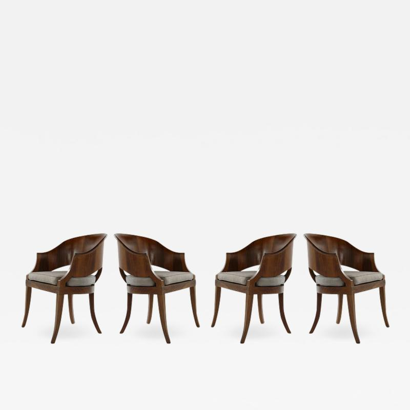 Art Deco Style Walnut Armchairs c 1940s