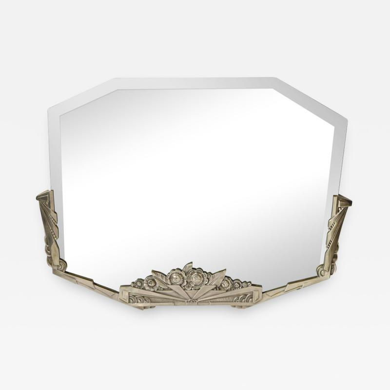 Art Deco Stylized Floral Cubist Silvered Bronze Beveled Octagonal Mirror