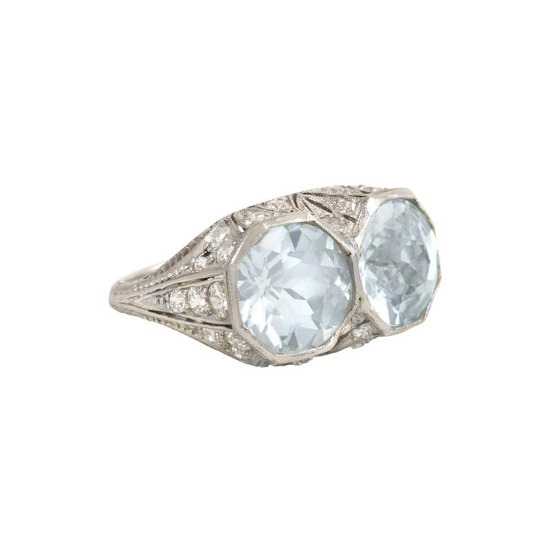Art Deco Two Stone Aquamarine and Platinum Ring with Diamond Accents