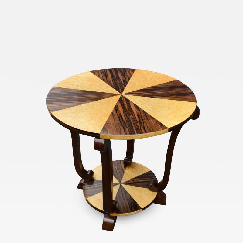 Art Deco Two Tier French Centre Table In Macassar Ebony Maple