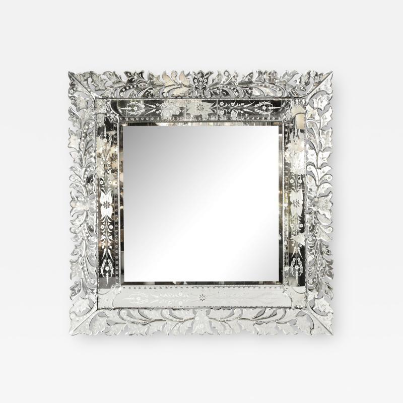 Art Deco Venetian Etched Beveled Mirror w Stylized Floral Motifs