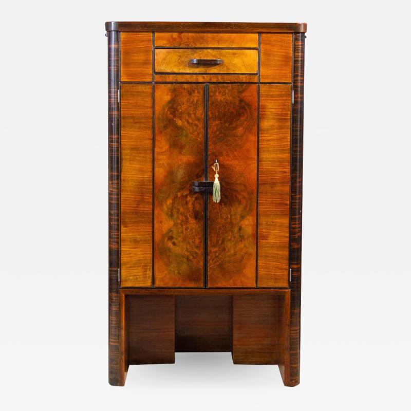 Art Deco Walnut Cocktail Dry Bar Cabinet Italy 1930s