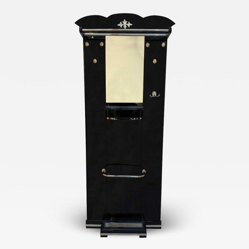 Art Deco Wardrobe Black Lacquer and Nickel Mirror France circa 1920s