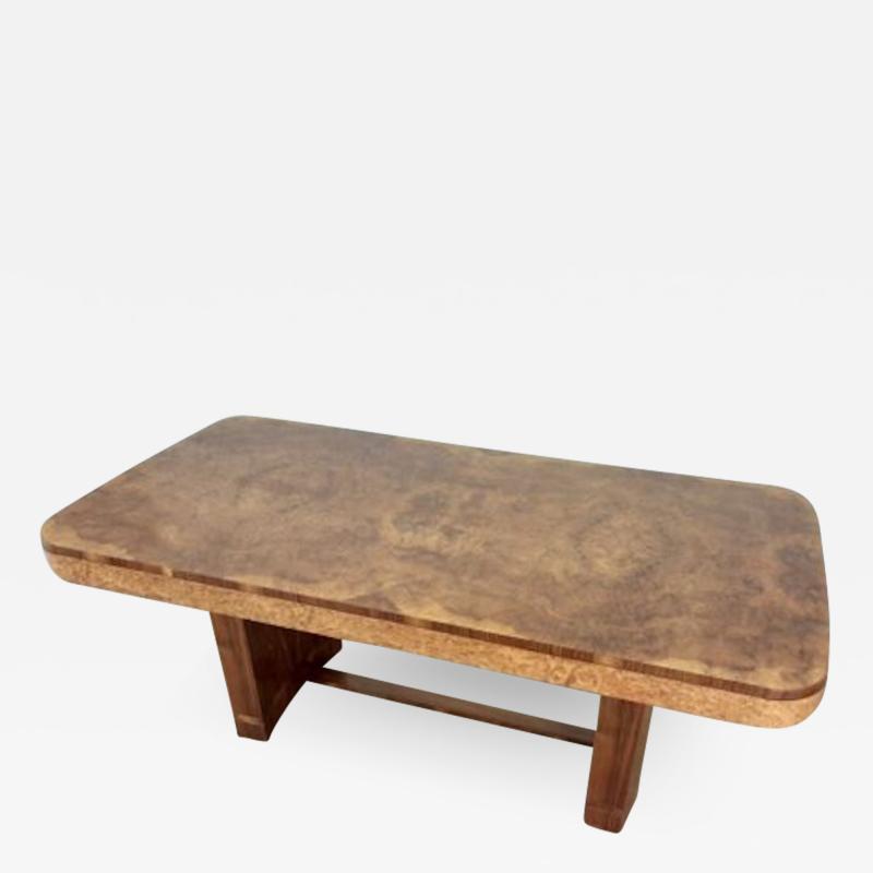Art Deco karelian birch and walnut dining table