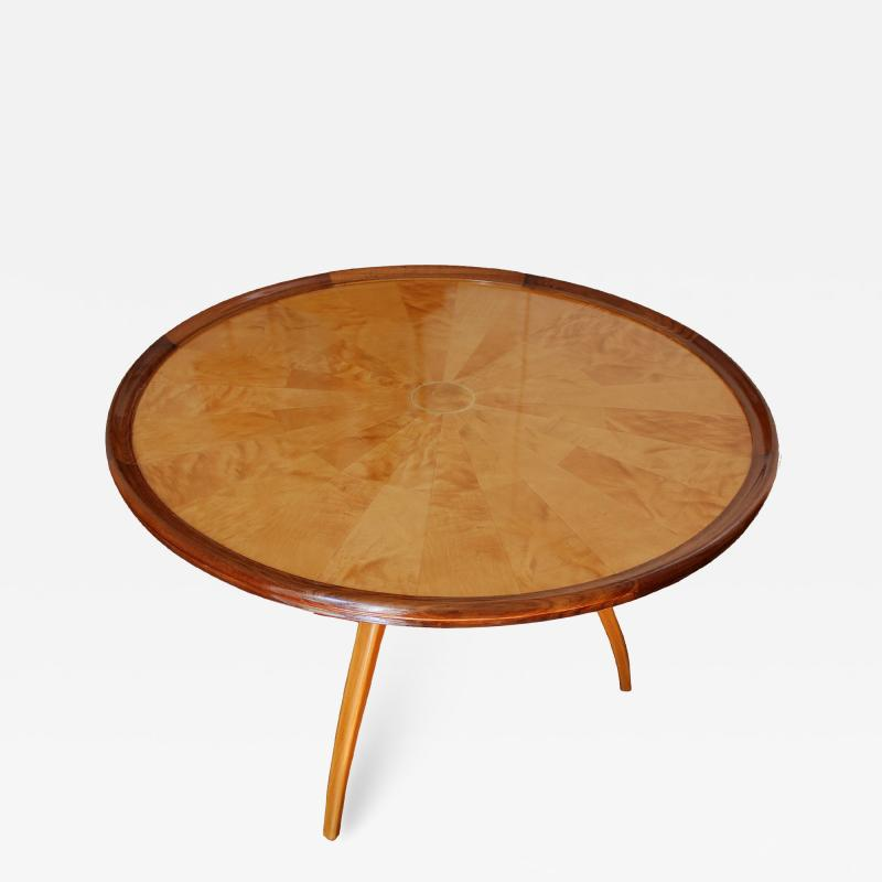 Art Deco pedestal table in sycamore France around 1950