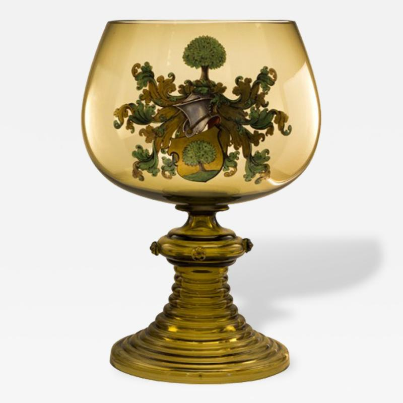Art Glass Bohemian Punch Bowl with a Coat of Arms Late 19th Century