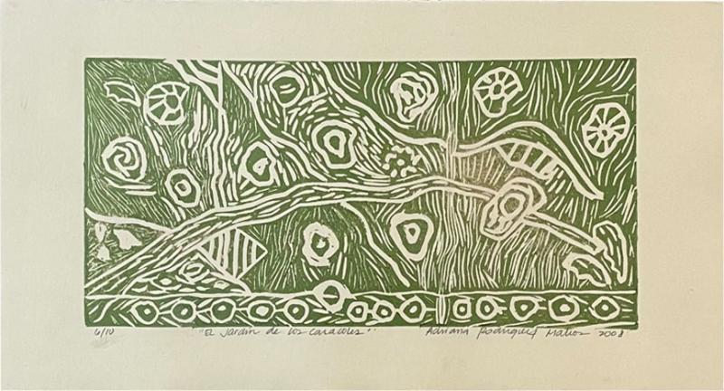 Art Green Snails Caracoles Nature Lithograph Adriana Rodriguez Matios 2008