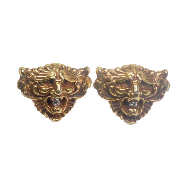 Art Nouveau 14 Karat Gold and Diamond Grotesque Mask Cuff Links