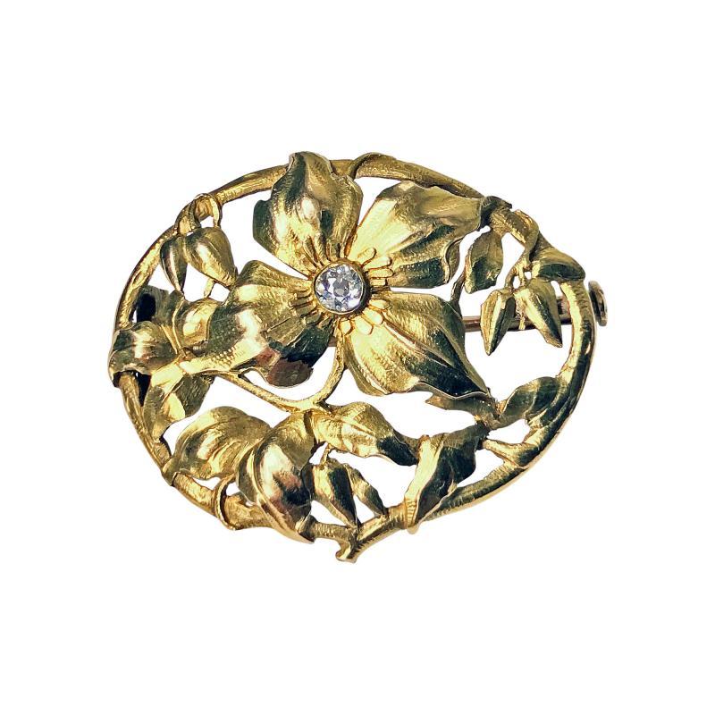 Art Nouveau 18K Diamond Brooch C 1900