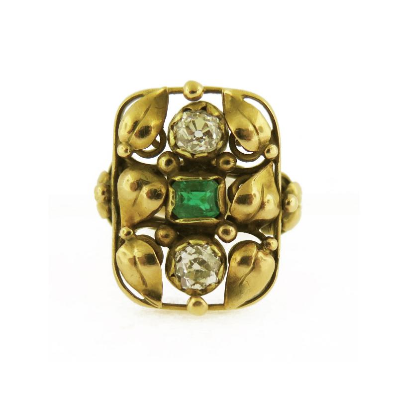 Art Nouveau Emerald and Diamond Leaf Motif Ring