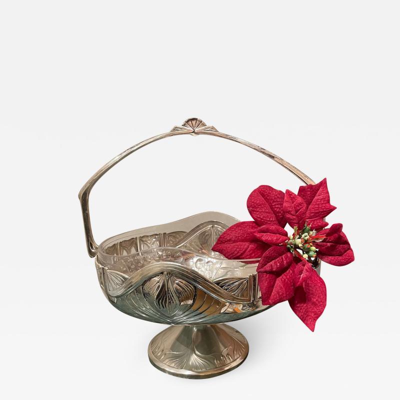 Art Nouveau Silver Basket Centerpiece