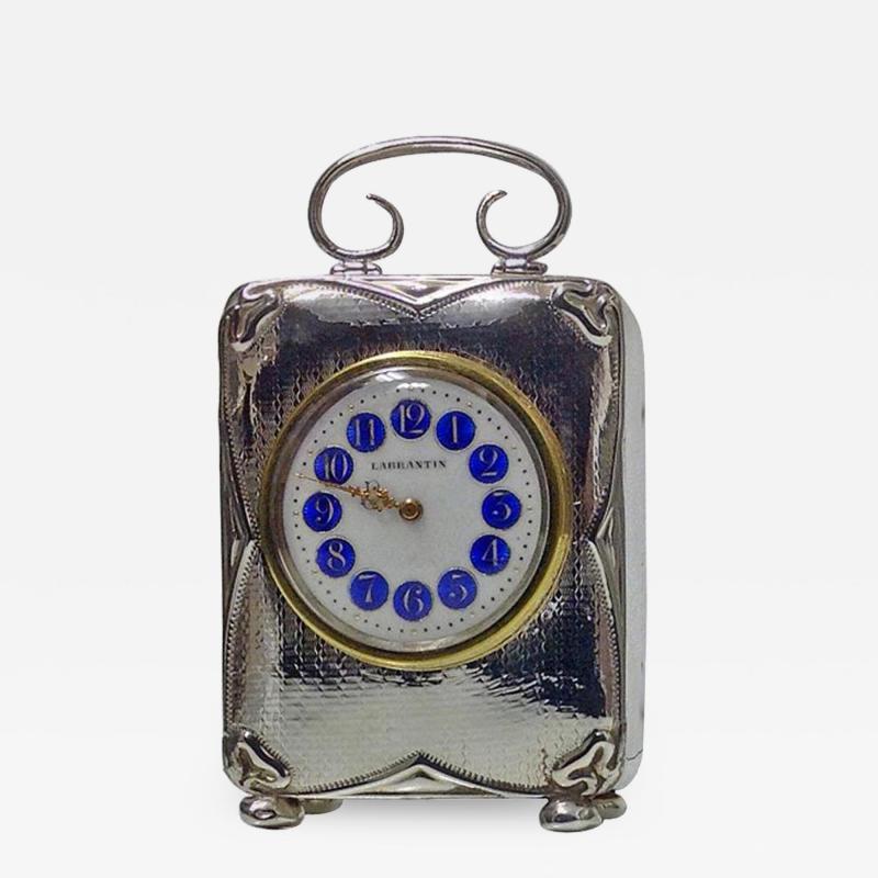 Art Nouveau Silver Carriage Clock Birmingham 1911