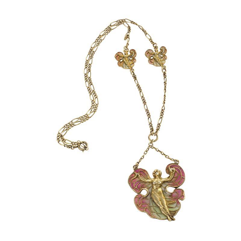 Art Nouveau Silver Gilt and Enamel Femme fleur Pendant Necklace