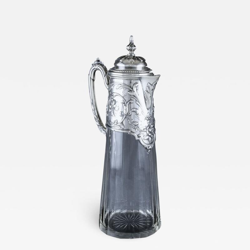 Art Nouveau Silver and Glass Claret Jug Germany C 1900 J Mayers Sohne