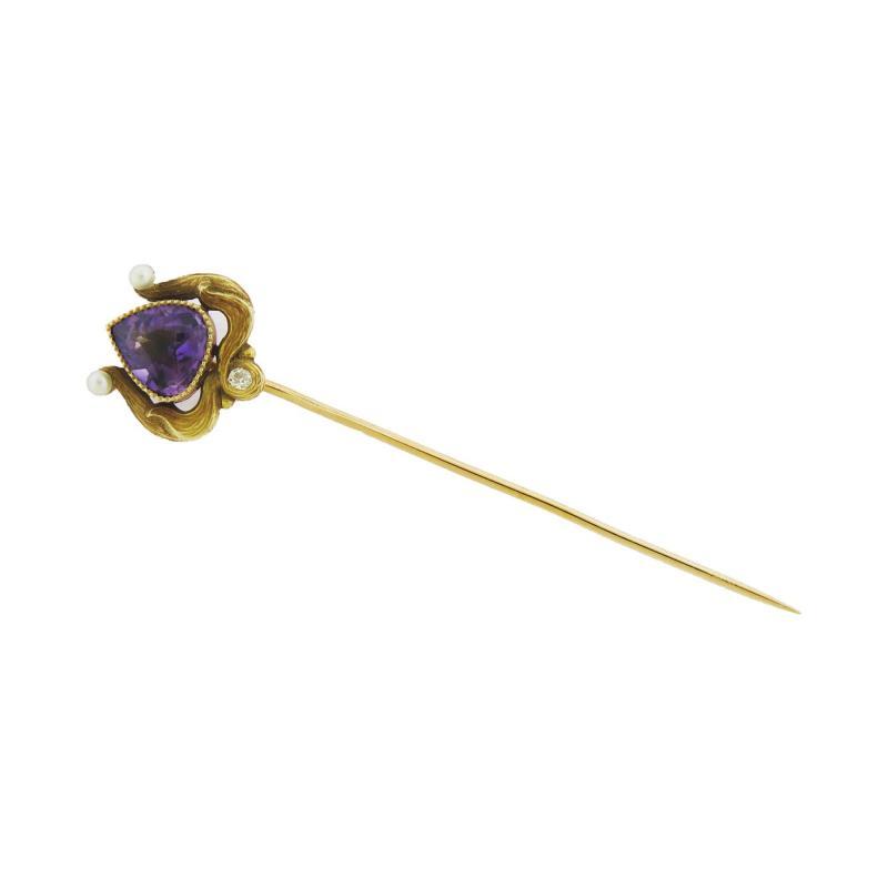 Art Noveau Amethyst Stick Pin